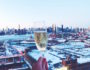 Champagne cheers from the balcony at the William Vale Hotel in Williamsburg, Brooklyn