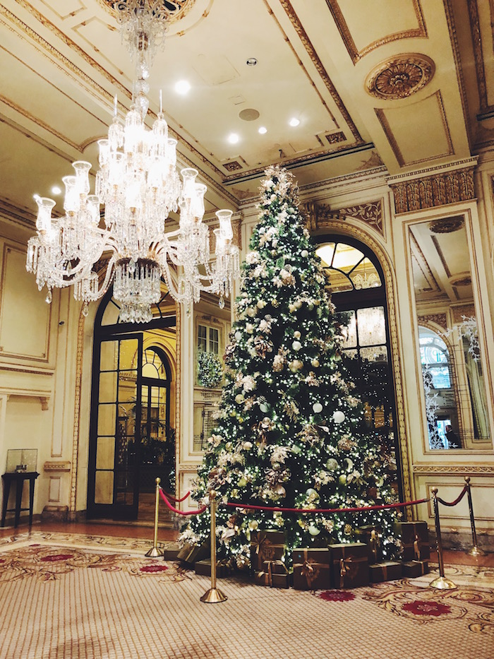 Christmas tree at the Plaza Hotel in New York City
