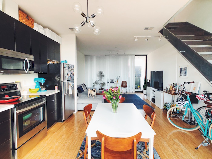 Kitchen and living room in Modern apartment in North Park, San Diego